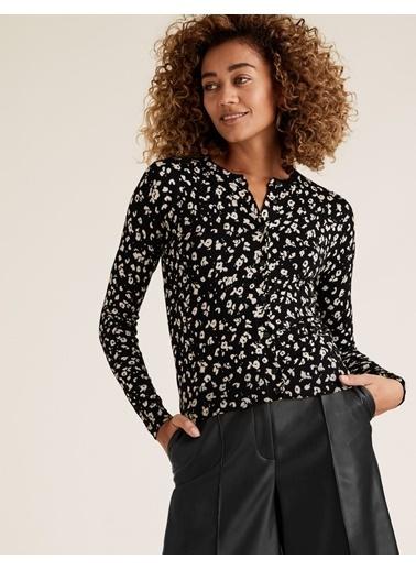 Marks & Spencer Desenli Yuvarlak Yaka Hırka Siyah